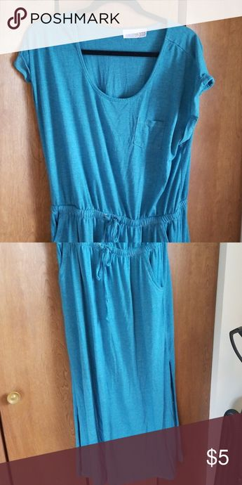 Teal maxi dress Tshirt material maxi- teal. Super comfy and professional. Looks awesome when you tie one of the skirt sides. Time and Tru Dresses Maxi