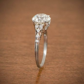 Edwardian Style Engagement Ring - Platinum and Diamond Ring