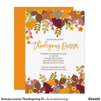 thanksgiving dinner hand drawn autumn ivy vine invitation