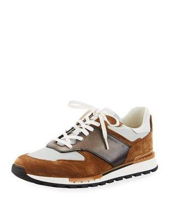 Berluti Mens Suede/Leather Low-Top Runner Sneaker