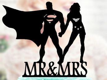 Superman et Wonder woman Silhouette, Mr et Mme de gâteau de mariage, mariée et marié Wedding Cake Topper, super-héros Cake Toppers