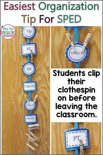Super simple organization tip for special education classrooms. This classroom visual will help you keep track of students as they come and go to therapies during the school day. #collegeeducationonline #SpecialEducationelementary