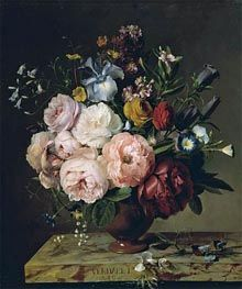 A Vase of Flowers on a Ledge, 1817 by van Dael   Painting Reproduction