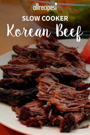 "Simple Slow-Cooked Korean Beef Soft Tacos | ""Great recipe and so easy to make. I've made it twice now and we just love it on hamburger buns or in tortillas or even rolled and pizza dough and baked. It's the bomb!"" #allrecipes #slowcooker #slowcookermeals #slowcookerrecipes #slowcookerideas #slowcookersupper #slowcookerdinner #crockpot #crockpotdinner #crockpotmeals #crockpotsupper #crockpotdinnerideas #crockpotsupperideas #crockpotrecipes #crockpotideas"