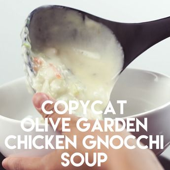 Copycat Olive Garden Chicken & Gnocchi Soup is super creamy and flavorful with ribbons of spinach, and plump gnocchi throughout.