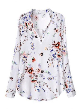 Fashionable V-Neck Floral Print Long Sleeve Women's Blouse