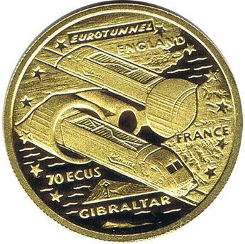 Moneda de oro 70 Ecus Gibraltar 1993 Eurotunel.