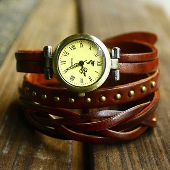 Fashion woven rivets leather 3 circles retro watch only $27.9
