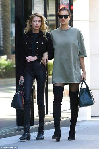 Stella Maxwell and 'pregnant' Irina Shayk make sidewalk their catwalk