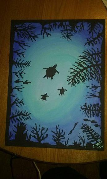 Under The Sea Turtles ocean original acrylic painting 12 x 16