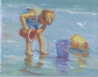 original 8 x 10 seascape scene impressionist lwith figure of boy. oceanscape with a boy and his beach buckets, Lucelle Raad Art