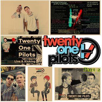 Twenty One Pilots Vintage Retro rock band music Guitar Matte Antique Poster Wall Sticker Home Decora Part 2