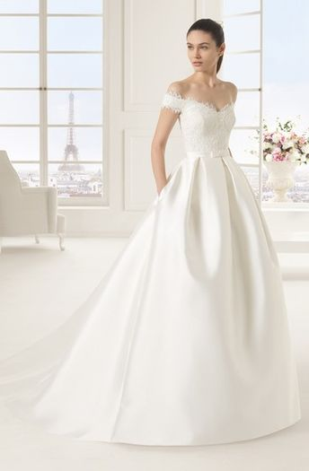 2056df8f1b57 Off-Shoulder A-Line Satin Wedding Dress With Beaded Details And Little Bow  Sash