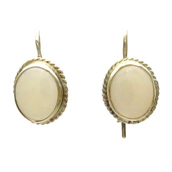570c0e177 Antique Jelly Opal Cabochon 14k Gold Drop Earrings