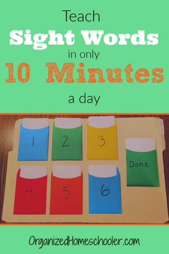 Teach Sight Words In 10 Minutes A Day