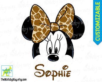 Minnie Face with Giraffe Print Bow Printable Iron On Transfer or Clipart DIY Disney Shirt Minnie face Download Animal Kingdom Disney Safari by TheWallabyWay on Etsy