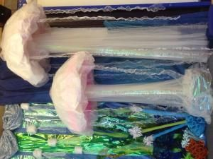 Giant jelly fish props for under the sea themed primary school summer concert. by guadalupe