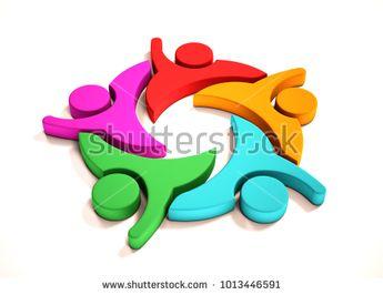 Teamwork Business Five People Group. 3D Render Illustration