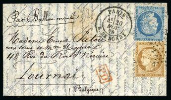 France Franco Prussian War Collections- Belle collection de ballons montés superbement présentée sur pages en 2 albums de cuir rouge Balasse, reprenant chronologiquement 55 lettres parties de Paris par différents ballons du Siège de Paris, à noter LES ETATS UNIS, LE VICTOR HUGO, LAFAYETTE, COLONEL CHARRAS, FULTON, FERDINAND FLOCON, VILLE DE CHATEAUDUN, ARCHIMEDE, LE VILLE D'ORLEANS pour Cannes avec arr. 12.12.70, LE JACQUARD accidenté avec PP rouge et arr. 24.12.70, LE JULE FAVRE N°2, LE DENIS P