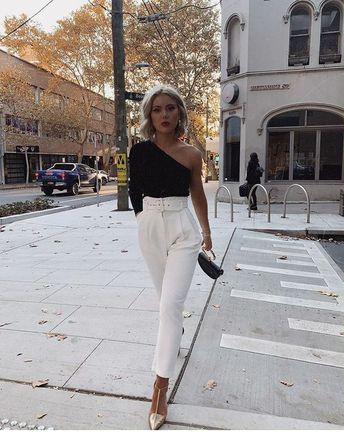 White pants, gold heels