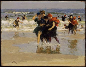 Edward Henry Potthast (American, 1857–1927) At the Seaside, c. 1905, oil on canvas, 23.497, Museum of Fine Arts, Boston
