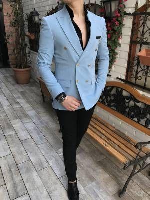 8e6a8658df85d Terziademaltun - İtalyan stil slim fit kruvaze erkek blazer açık mavi tek  ceket T3346 (1