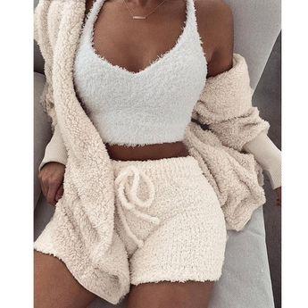 Autumn Winter Suit Long Sleeve Loose Coat Shorts Suit Woman Oversize Cardigan+Drawstring Shorts 2 Piece Set