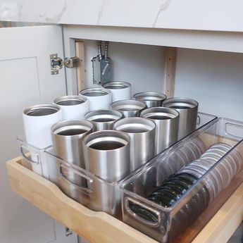 NEAT Method St. Louis :: Nicole Loiterstein Coffee Station Kitchen Cups Tumblers Insulated Mugs Travel Traveler Commute Commuter Togo To-go Cups Lids Yeti Clean Organized Bright Modern Renovated Renovation Organized Organizing Organizer Ideas Inspo Inspiration #renovationideasdiy