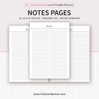 Notes Page, 2019 Planner, A5, A4, Letter Size, Planner Refill, Planner Binder, Printable Planner, Instant Download