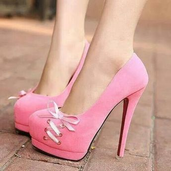 Pink Suede Rounded Toe High Heel Pumps With Lace-Up Detailing