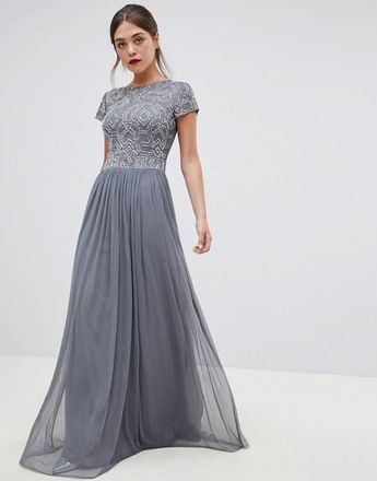 e56fc1c5b12 Frock   Frill pleated maxi dress with embellished upper