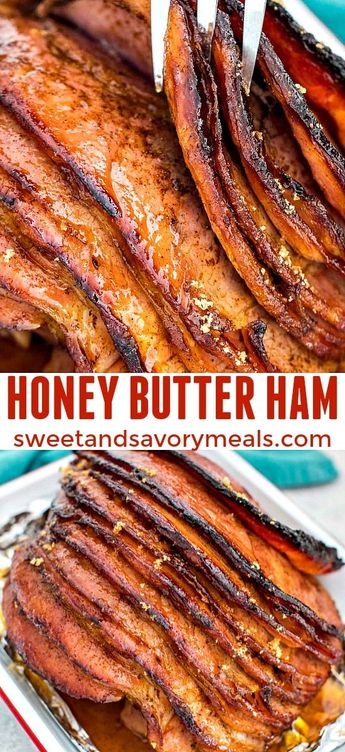 Honey Butter Ham is tender and delicious, covered in a sweet buttery glaze with brown sugar, honey, butter, and spices. With a prep time of five minutes. #easter #easterecipes #christmas #christmasrecipes #sweetandsavorymeals #ham #honeybutterham