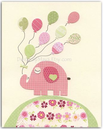 Nursery wall art print, Baby girl room decor, baby elephant, Pink elephant with balloons, bright pin