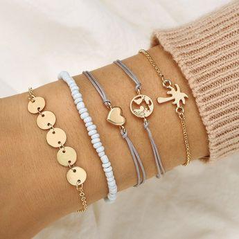 US$ 7.99 - Bohemian Weave Bracelet Set 5 Piece Rice Beaded Bracelet Coconut Tree Love Bracelet For Women