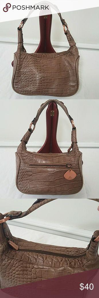 0d198529d9 KESSLORD Paris Croc embossed leather Demi bag Taupe Brown Croc embossed  leather Demi bag with Rose