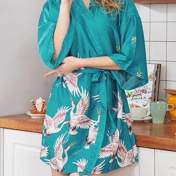 Plus Size Sexy Sleepwear Bird Print Floral Silk Comfort Belt Spring Pajamas