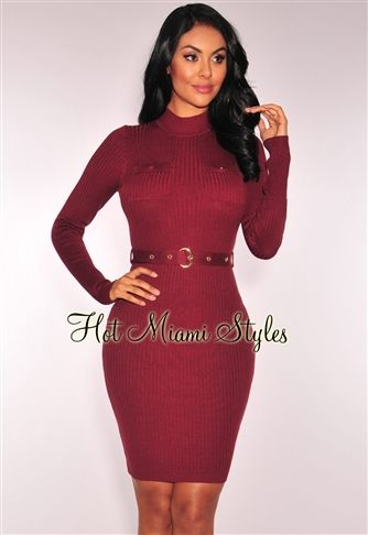 38eefce9e9b Burgundy Knit Ribbed Long Sleeves Belted Dress