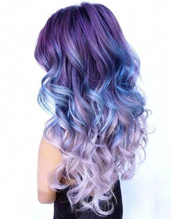 Dusty, Dark Purple to Blue and Light Purple Ombre Hair #OmbreHair #purpleombrehair