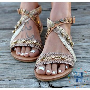 1914f99dc0 Gorgeous Bohemian Beach Sandals - Flip Flops Handmade Vegan Leather Straps  wrapped in Gold Pink