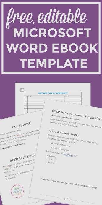 Free Ebook Template – Preformatted Word Document