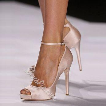 Nude Peep Toe Ankle Wrap Stiletto Heels