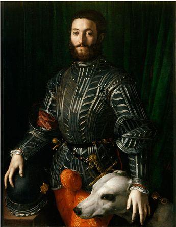 Include a dog and a quilted johnson. Agnolo Bronzino,Guidobaldo della Rovere (1531–32). Photo: Palazzo Pitti, Florence.