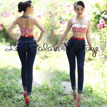 Le Palais Vintage Double Breasted High Waist Skinny Jeans - Designed by Winny #LePalaisVintage #SkinnyHighWaistDoubleBreasted #women'sjeans #women's #jeans #design