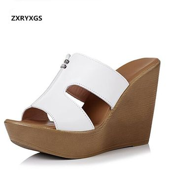 26adb73f0e1 2019 Newest Summer Genuine Leather Shoes Woman Wedge Sandals Outside  Wearing Slippers Fashion Sandals Super High
