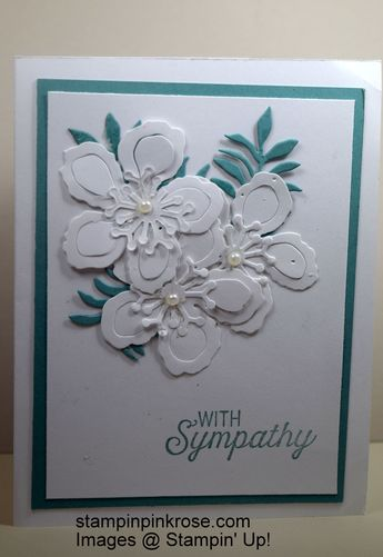 Stampin' Up! Sympathy card made with retired Botanical Blooms stamp set and designed by Demo Pamela Sadler. This card is a simply elegant sympathy card. #cardmaking #rubberstamping #stamping #Stampinup #sympathy #cleanandsimple See more cards at stampinkrose.com and etsycardstrulyheart