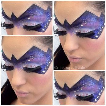 """.) tape to create perfect lines 2.) use """"Cinema Secrets"""" cream color paints in WHITE, BLACK, BLUE & RED to make the PURPLE 3.) Glitters are in sliver, two shades of purple & black from TNT Cosmetics 4.) Swarovski Crystals (at Michael's) glued on w/ white duo lash adhesive 5.) Lastly, peel off the tape & highlight outer edges of mask with a light foundation to give it a 3D effect. #PeelOffMaskHomemade"""