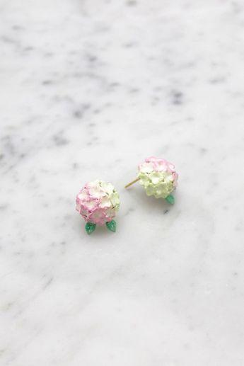 Hydrangea Pink Earrings , Stud Earrings  , Flower Earrings - High quality enamel by GOODAFTERNINE