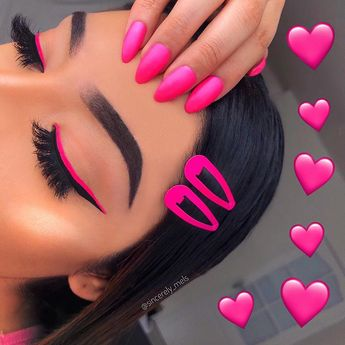 """MELS SMITH 🇬🇧🇺🇸 on Instagram: """"PRETTY IN NEON PINK 💗 Anyones favourite colour pink? That's my favourite colour! TAG someone who loves pink 🌸 Lashes: @lamorelashes style…"""""""