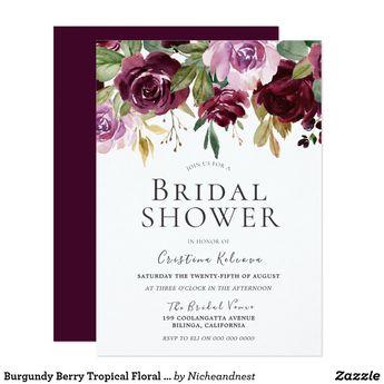 Burgundy Berry Tropical Floral Bridal Shower Invitation | Zazzle.com