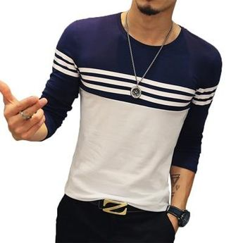 Casual T Shirt Men Fashion Striped O Neck Long Sleeve Men's T Shirt Slim Fit Mens Clothes Top Tees
